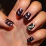 дизай ногтей кошачьего глаза в двух цветах