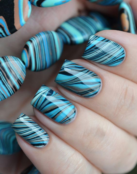 синий-черно-серые ногти