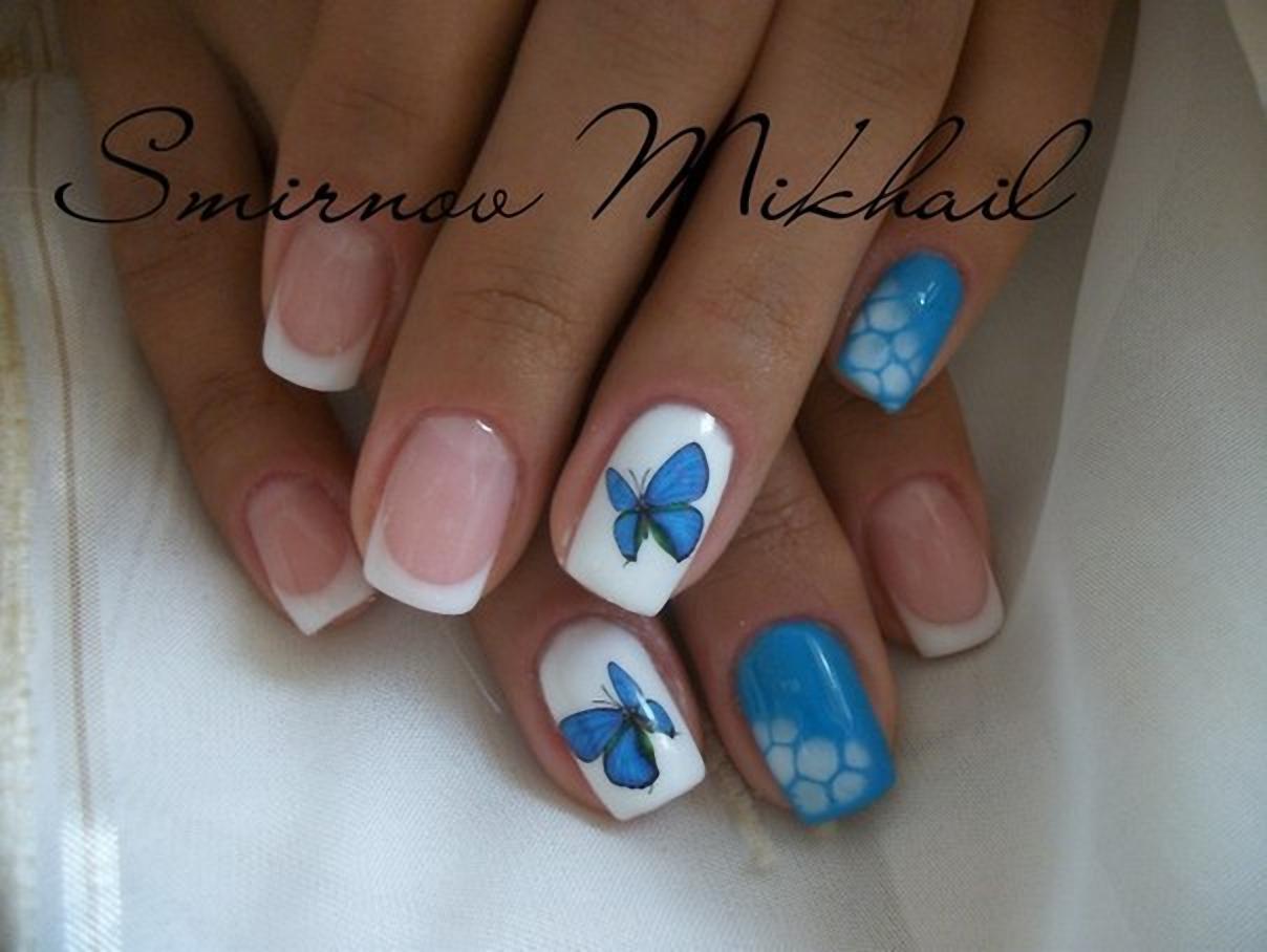 Модный френч с бабочками 447