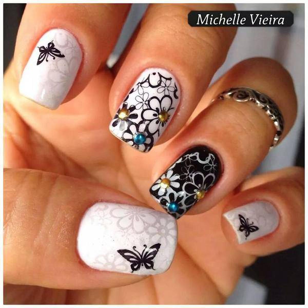 Идея цветы на ногтях 630
