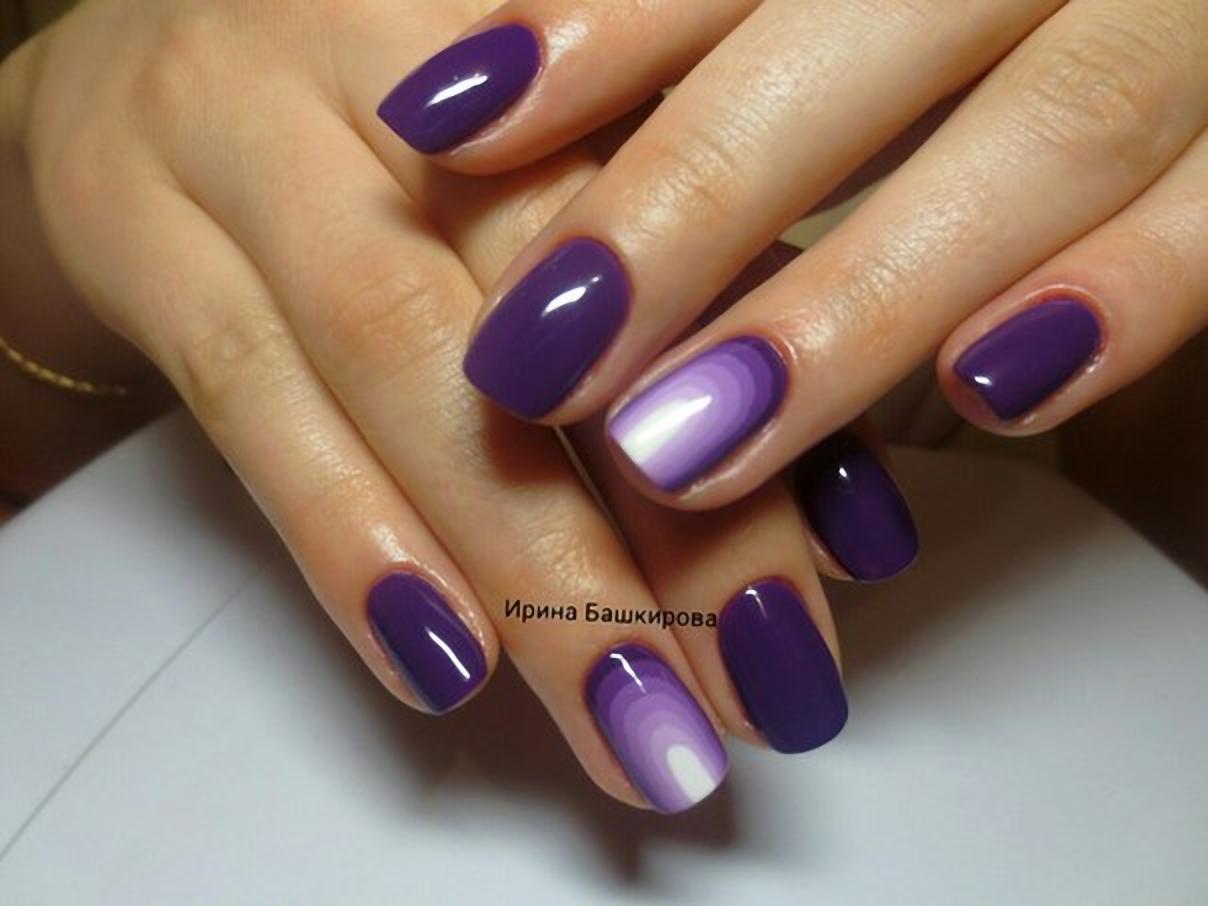 Тренд темно-фиолетовый маникюр 324